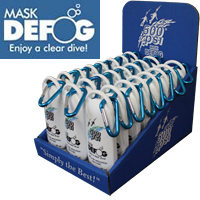 "2 fl oz. Mask Defog Sport Bottle with Carabiner (24pc. Cardboard Display)  This display has a footprint of 6"" x 8""."